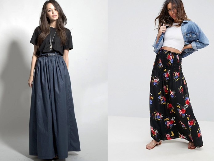 high waisted maxi skirt long outfit