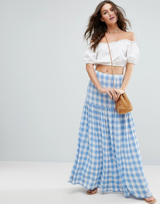 high waisted maxi skirt off the shoulder cropped blouse
