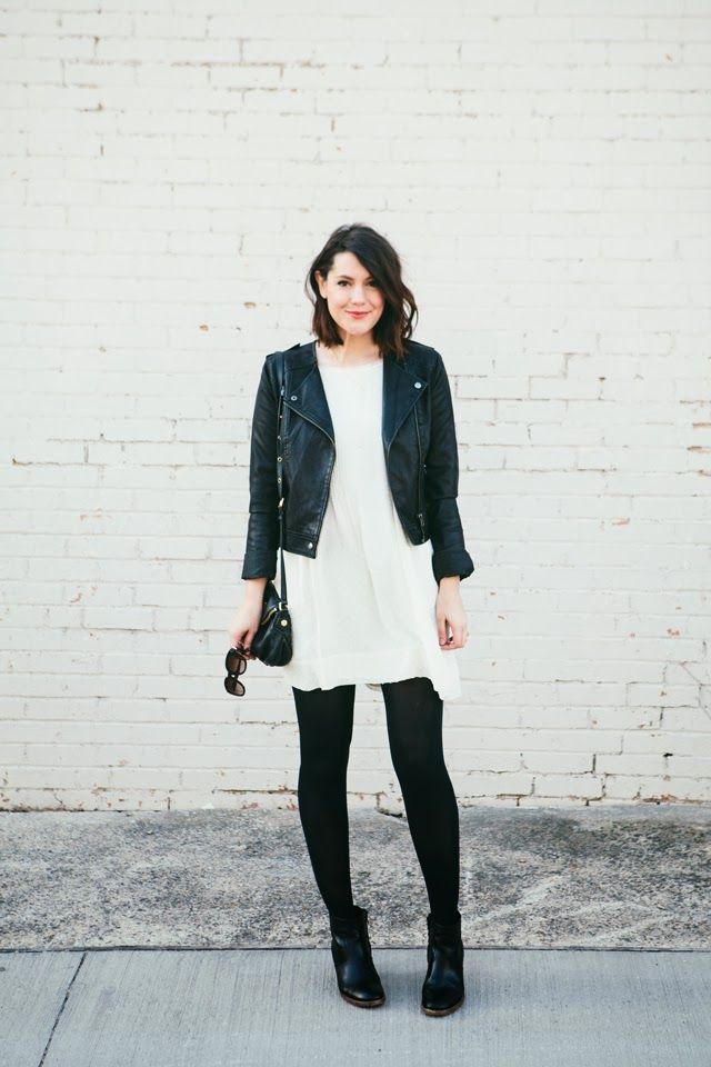 jacket white dress leather leggings