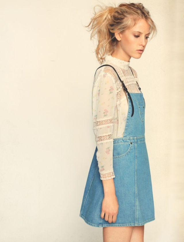 lace blouse denim overall skirt outfit