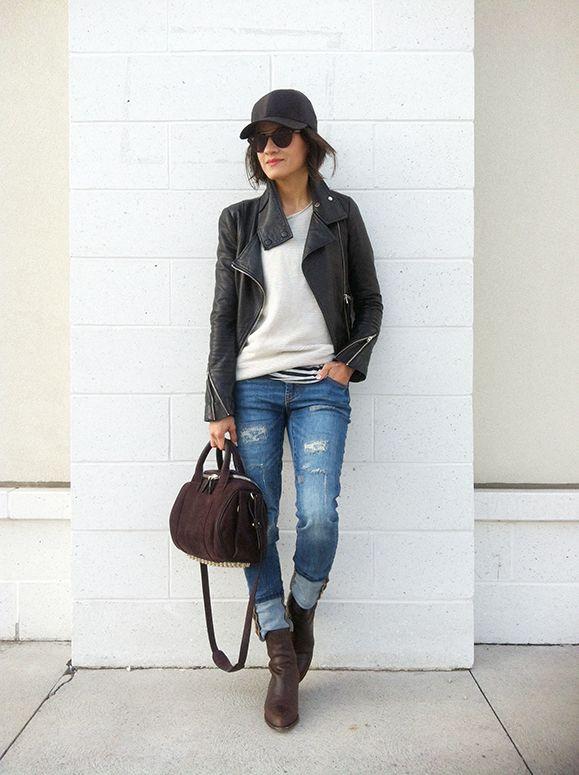 leather jacket baseball cap woman