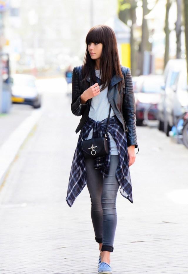 leather jacket boyfriend tied around waist