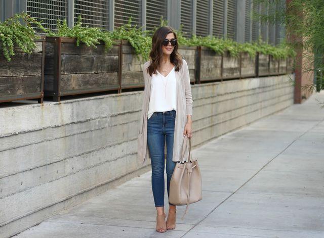 long cardigan tank skinny jeans