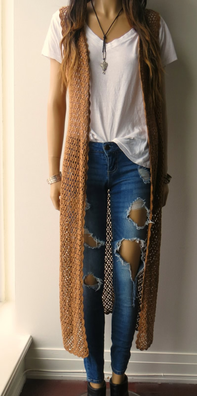 long sleeveless crochet cardigan outfit