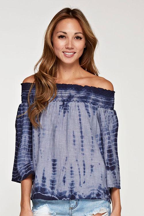 off the shoulder tie dye blouse