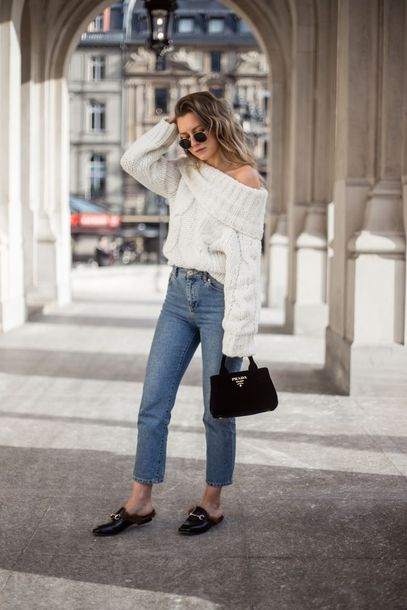 one shoulder fluffy sweater boyfriend jeans