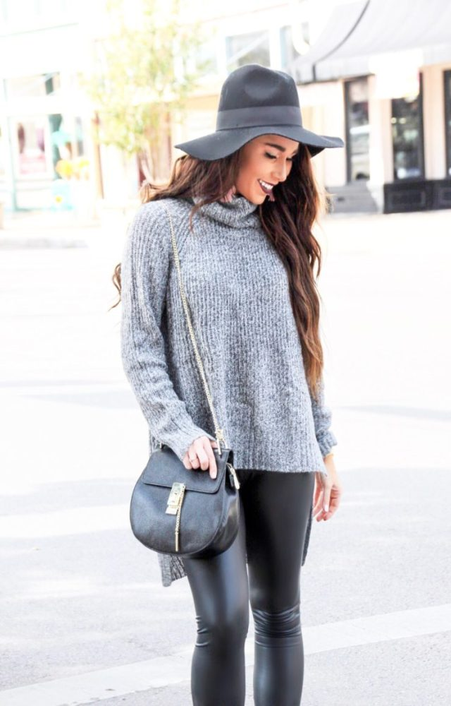 oversized comfy sweater leather leggings