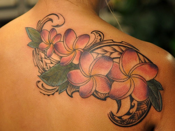 plumeria tattoo back upper