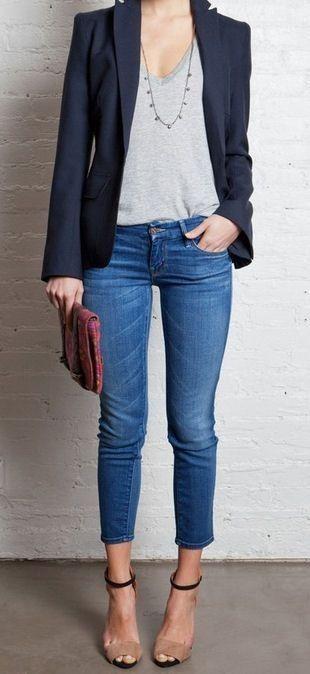 semi formal jacket t shirt jeans
