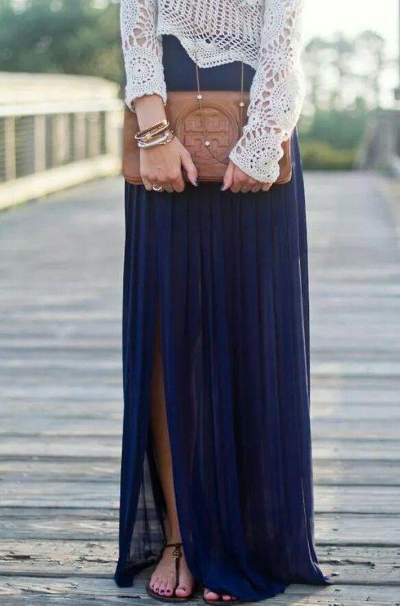 split high waisted maxi dress crochet sweater
