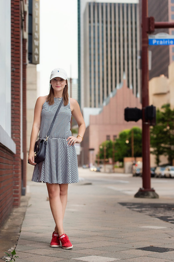 striped dress baseball cap cute outfit