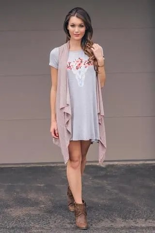 t shirt dress long sleeveless cardigan