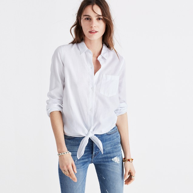 tie front shirt jeans outfit