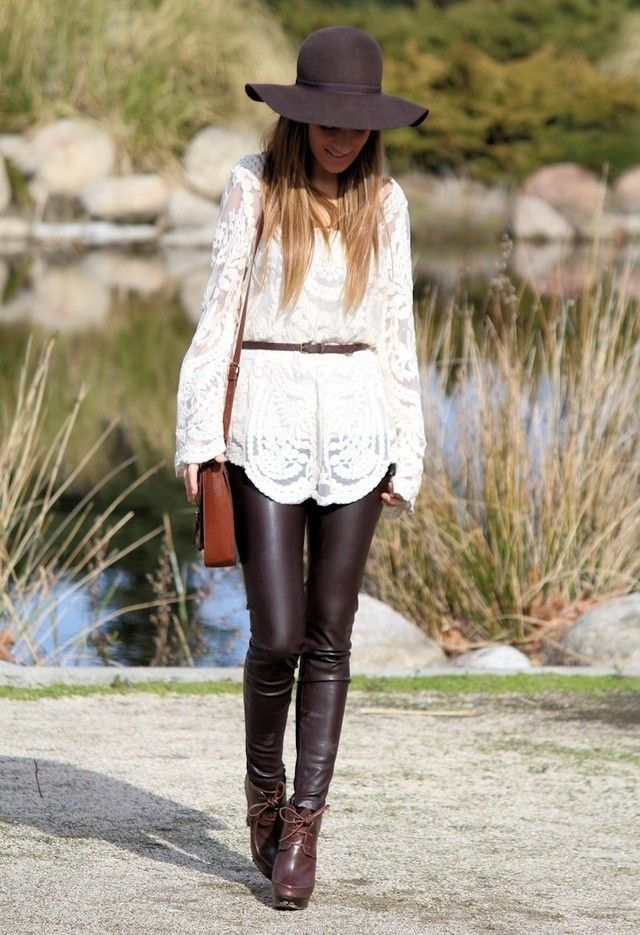 white boho top leather leggings outfit
