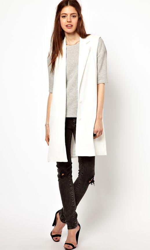 white long sleeveless cardigan idea