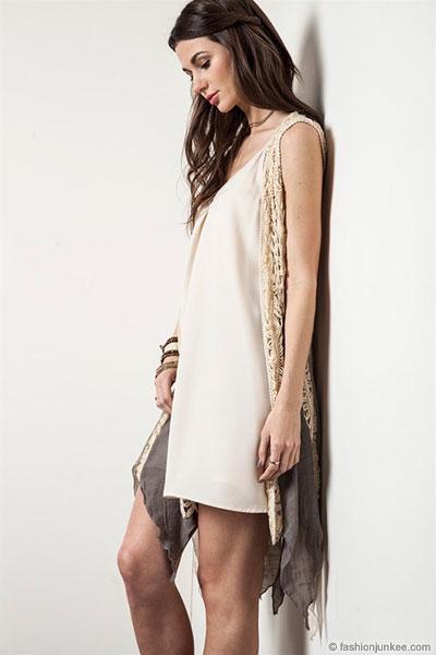 white long sleeveless cardigan white dress
