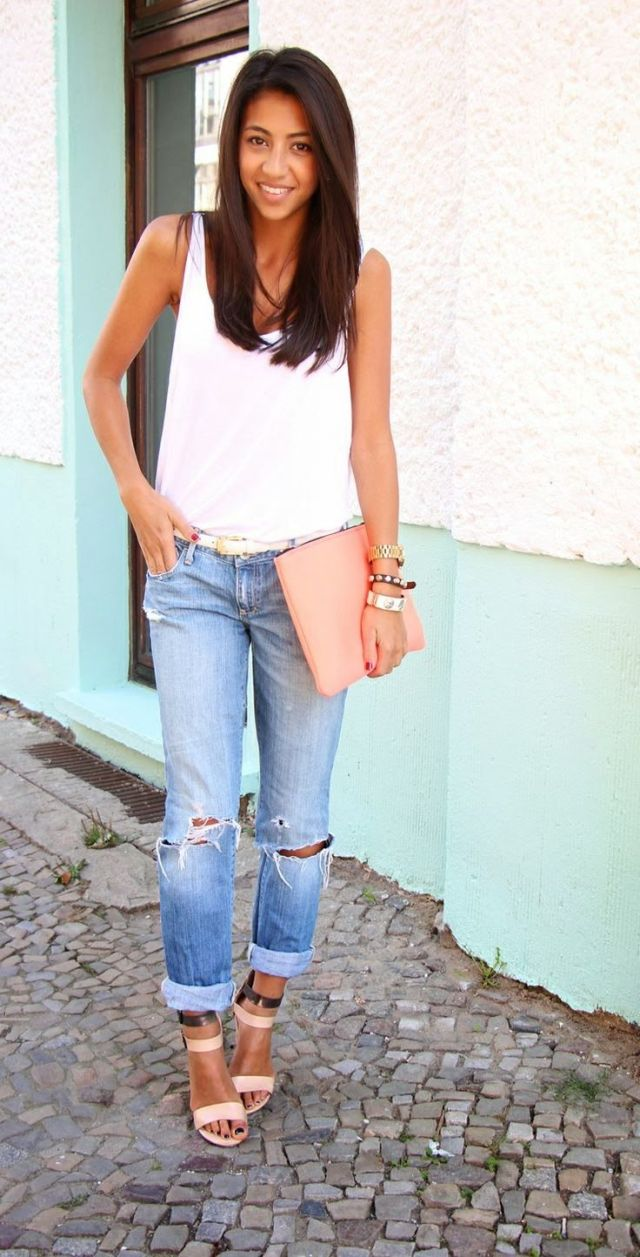 white tank with boyfriend jeans