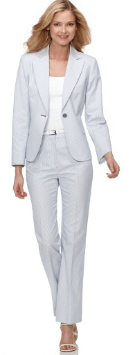 woman light color suit