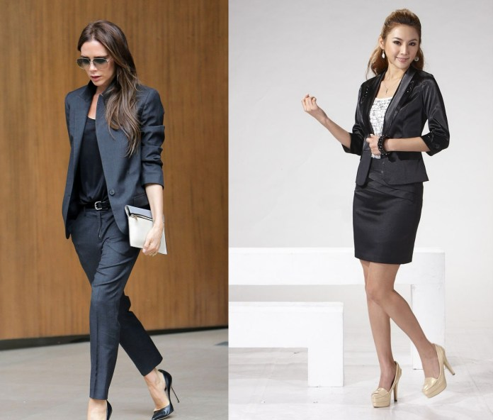 women wear suit ladylike feminine