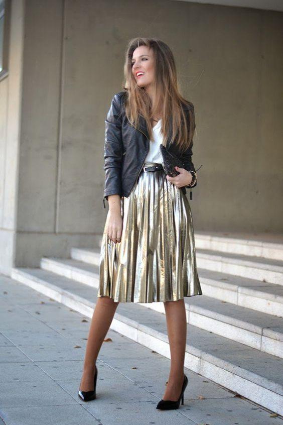 gold skirt midi