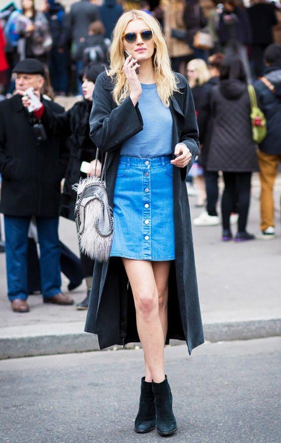 long black coat denim skirt