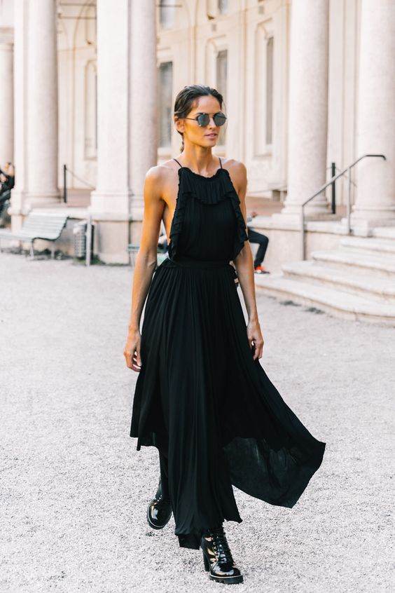 black ruffle maxi dress neckline