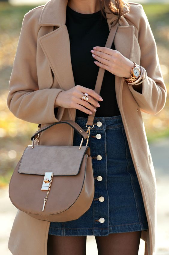 camel coat denim skirt 2