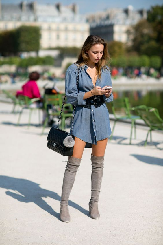 denim dress grey thigh high boots