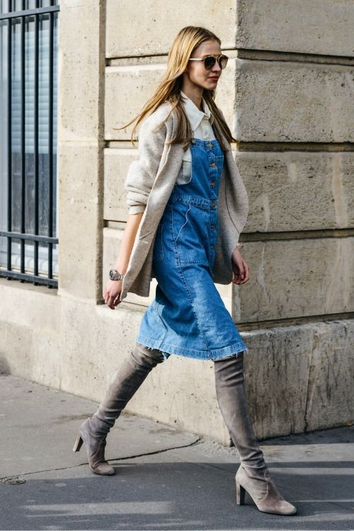 denim overall dress grey boots