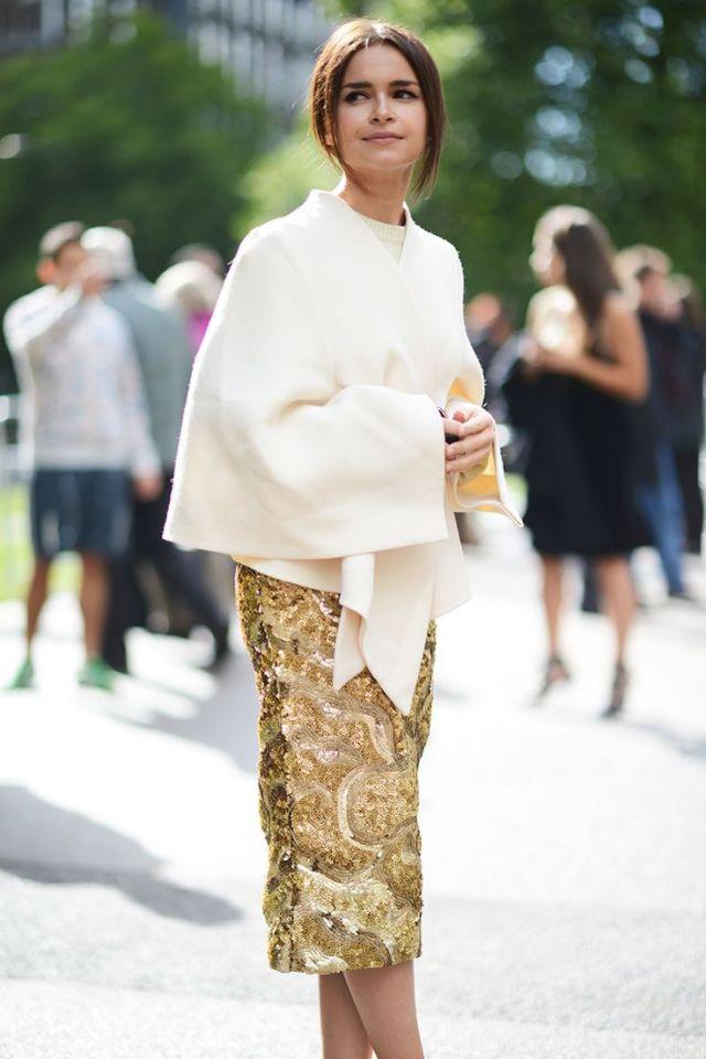 gold skirt embellished