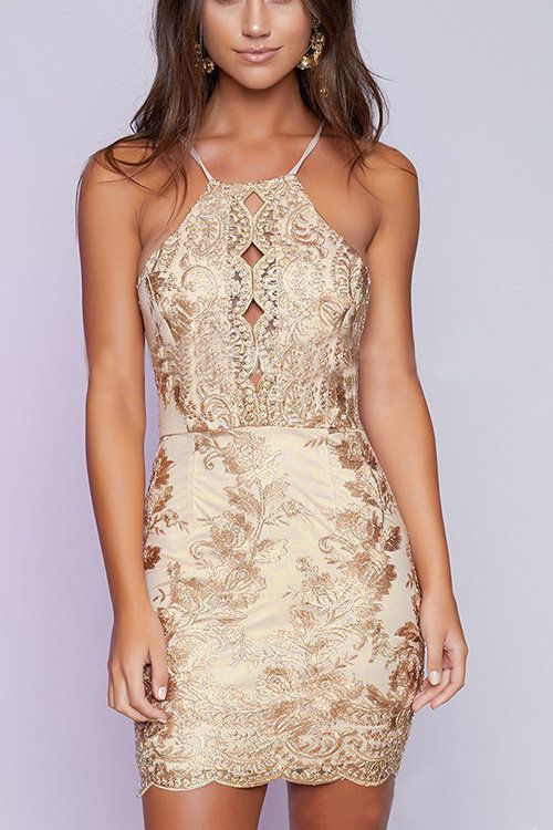 embroidered lace halter dress beige