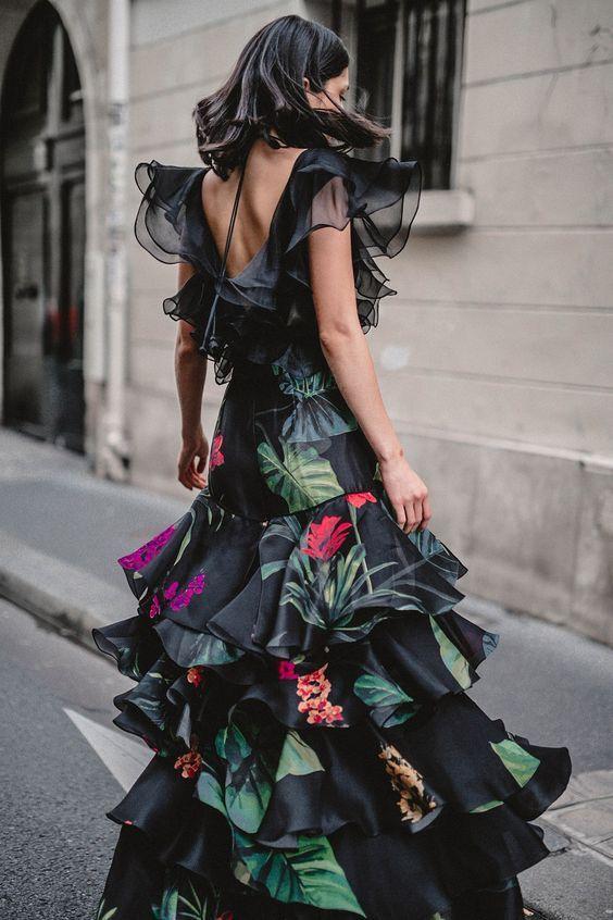 floral green black ruffle maxi dress