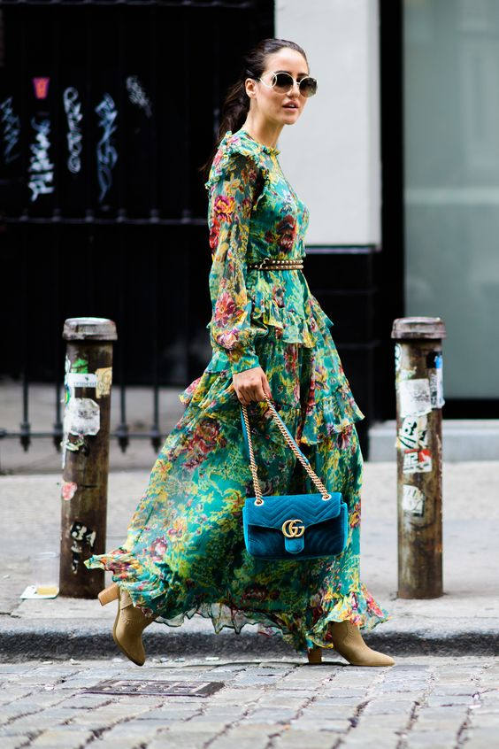 green floral ruffle maxi dress