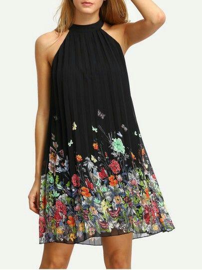 flowers pattern shift dress