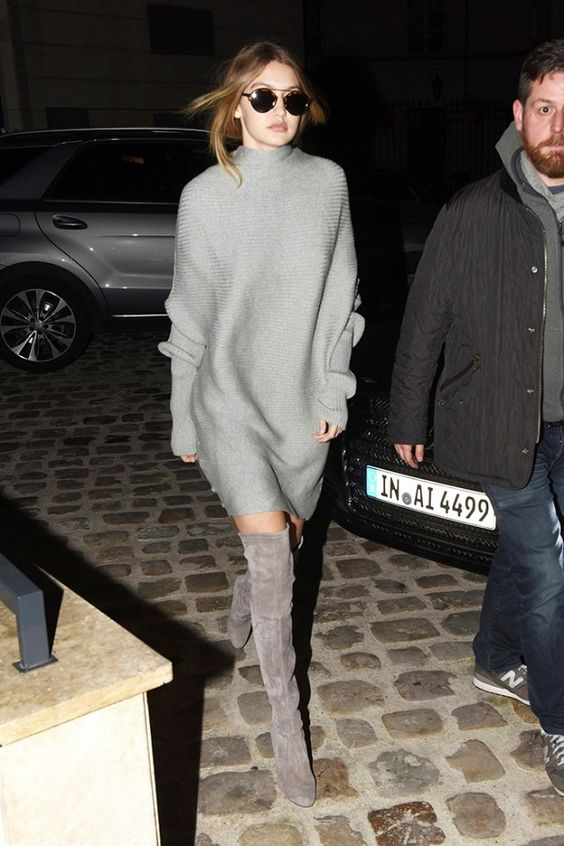 grey dress grey thigh high boots