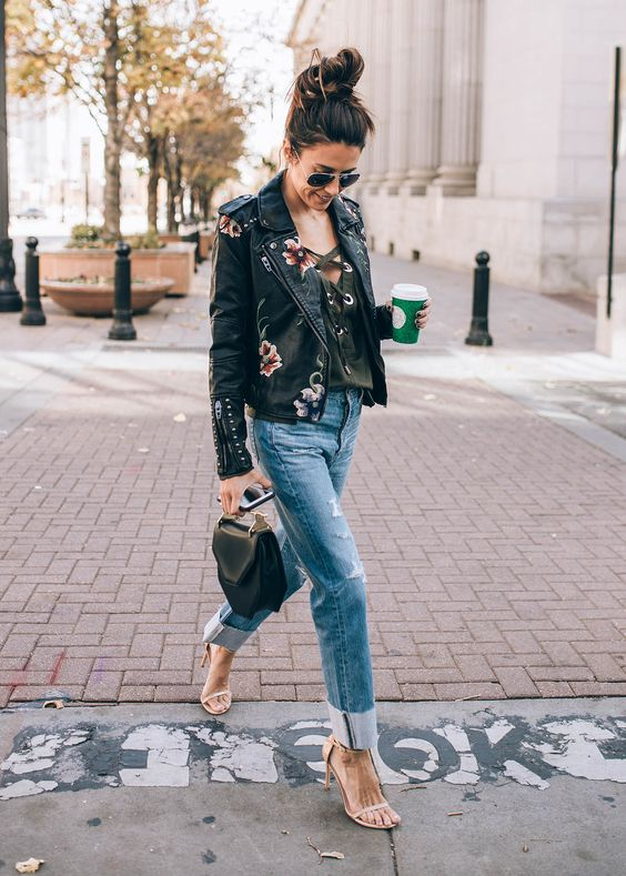 leather jacket embroidered
