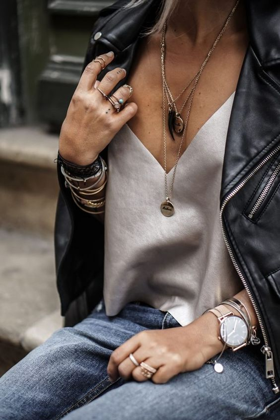 silk tank top leather jacket