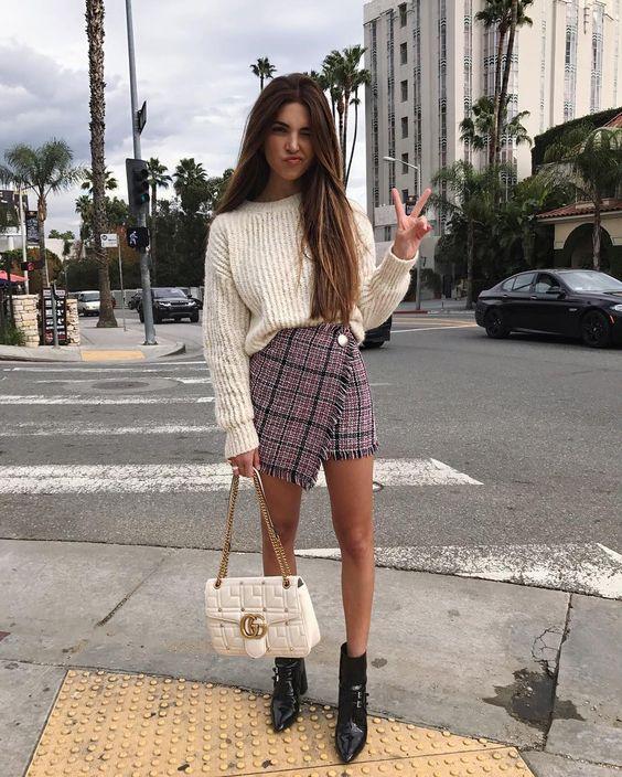 mini skirt boat neck sweater