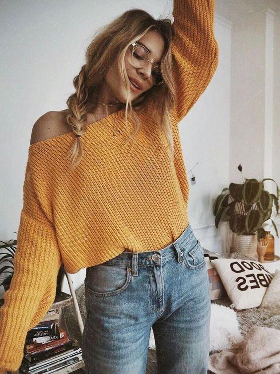 boat neck sweater orange