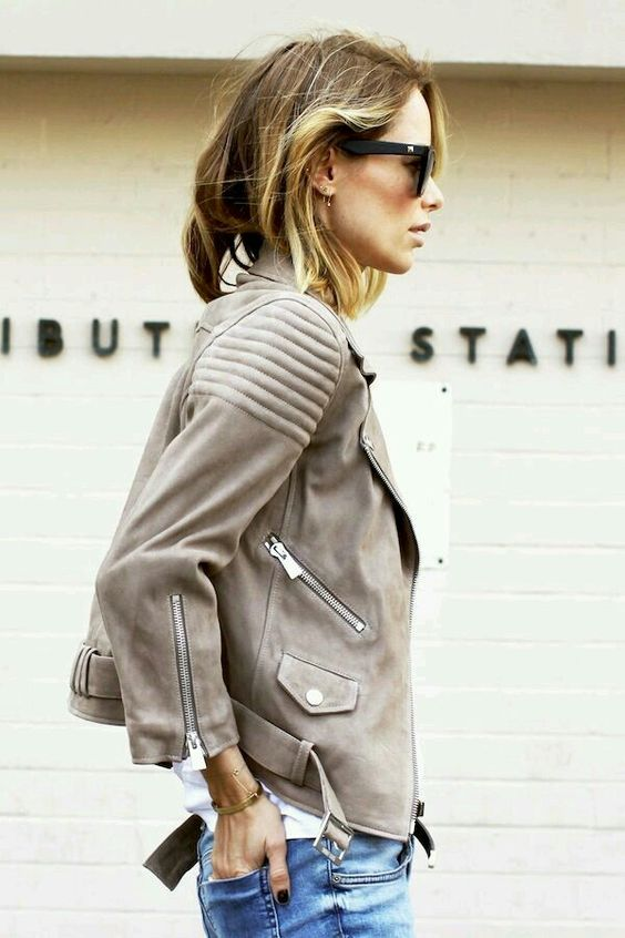 beige leather cropped jacket
