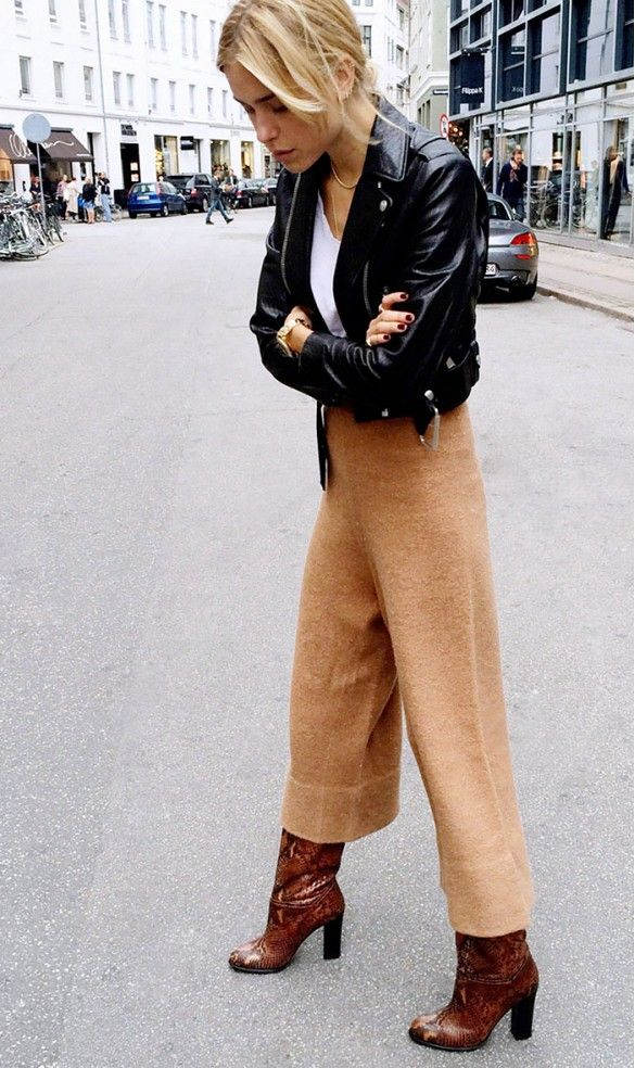 cropped leather jacket brown pants