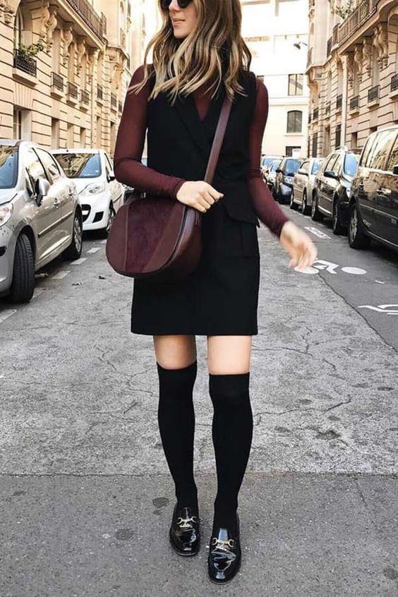 high socks pinafore dress