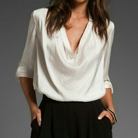 satin blouse cowl neck