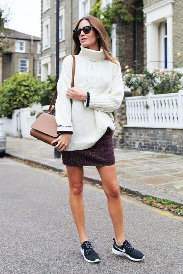 tweed skirt sneakers