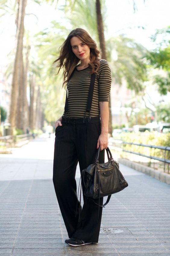striped suspender pants