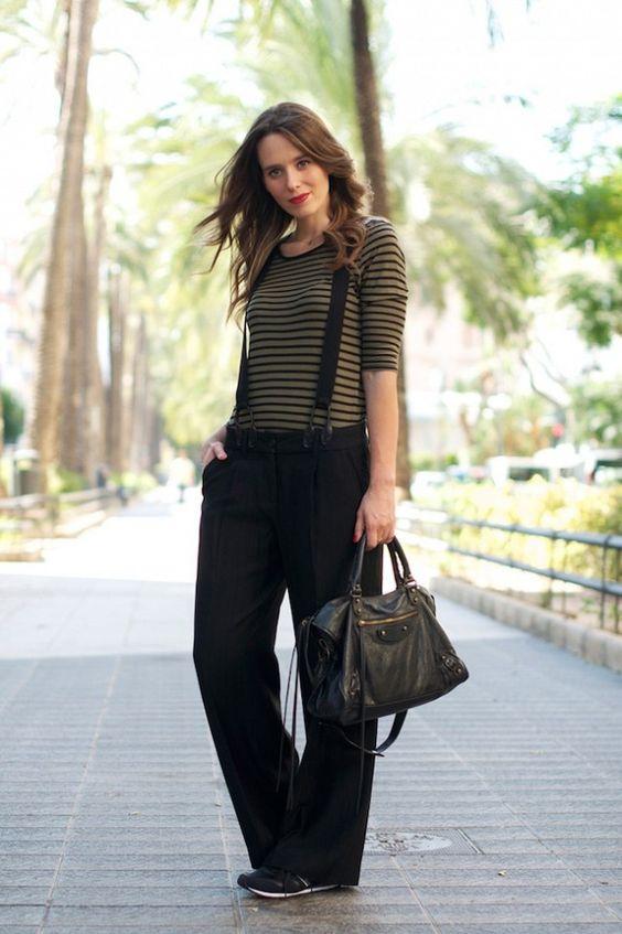 striped suspender pants