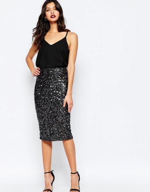 sequin skirt black tank top