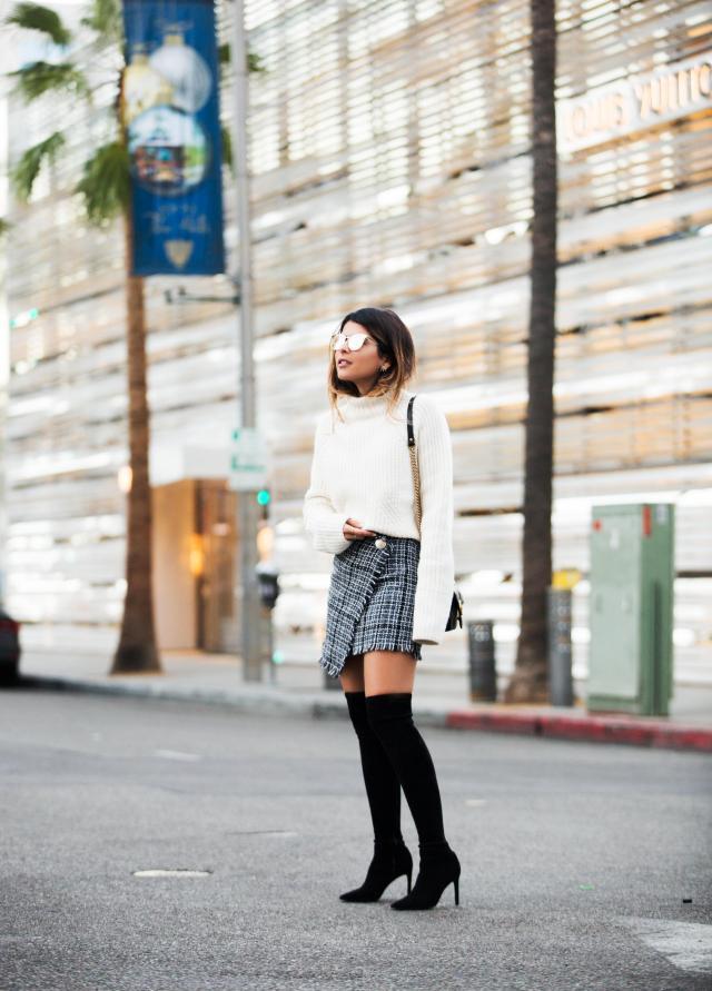 tweed skirt thigh high