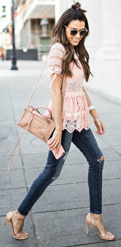 light pink top peplum