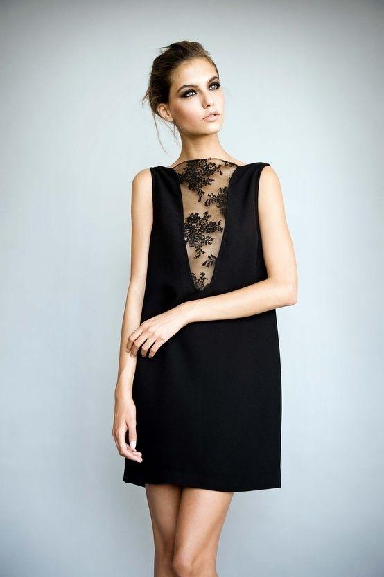 v neck laced shift dress